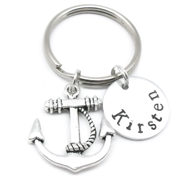Anchor gift keyring personalised name